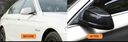 2010-2013 Carbon Fiber F10 F18 No Replacement Design Rearview Mirror Covers, Side Mirror (Example Already Installed)