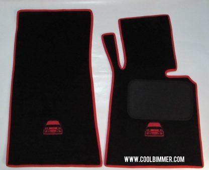 BMW Carpet E30 Super Velvet Material Black Red Line