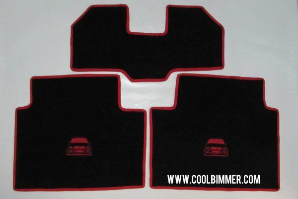 Carpet BMW E30 Premium Velvet Material Black Red Line