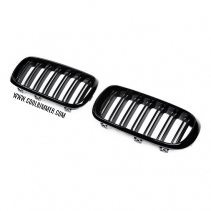 Grill Glossy Black Double Slats For BMW X5 F15, X6 F16 (15-16) Pair