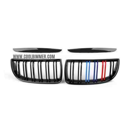 Grill M Color Glossy Black Double Slats For BMW E90 Pre LCI (05-08) Pair