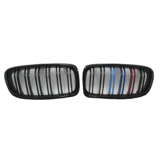Grill M Color Glossy Black Double Slats For BMW F30, F35 (Without M3 Badge) Pair